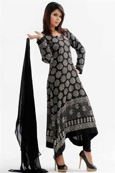 Black and White Printed Linen Churidar Kameez- Khushbu Fashions - Salwar Kameez, Churidaar Suits, Sarees, Asian Suits, Indian Suits, Asian Fashion