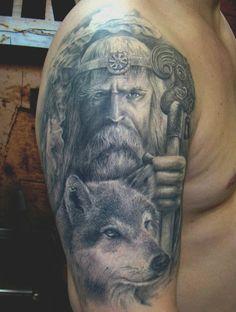 tattoo of odin and geri or freki