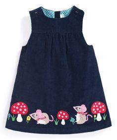 Navy Mouse Appliqué Pinafore Dress - Infant, Toddler & Girls