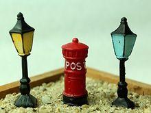 Mini Jardim Miniaturas Terrário Ornamento Decoração Bonsai Jardim de Fadas Figurinhas Micro Paisagem Decoração Streetlight Postbox(China (Mainland))