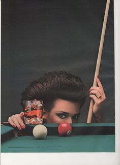 1994 Martini and Rossi 2 Page Advertisement Billiards Pool Balls Straight On the Rocks Over Ice Woman Player Games Room Wall Art Decor