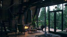 Modern Rustic Homes, Modern Tiny House, Forest Cabin, Forest House, Cabins In The Woods, House In The Woods, Cabin Interior Design, House Design, Apartment Bathroom Design