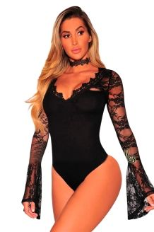 3e580b6ba5c2 Liva Girl Lace Long Bell Sleeve Mesh Bodysuit Rompers Womens Jumpsuits Sexy  Autumn Black Floral Lace V Neck Slim Party Jumpsuit