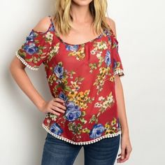 RED FLORAL POM-POM TRIM TOP Precious cold shoulder top with red back ground and floral print all over and short sleeves, pom-pom trim. 100% polyester. L24 B40 W40 S {2/4} 1 M {6/8} SOLD L {10/12} SOLD No holds or trades. No PayPal. Ask questions before purchasing. All sales final. Tops