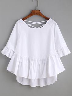 Top avec lacet croisé couleur unie - blanc -French SheIn(Sheinside)