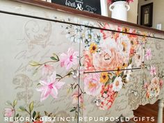 Close up of the Rose Celebration transfer that Reborn Distinct Repurposed Gifts used on this buffet. She even added some pink flowers to the transfer. Prima redesign transfer Rose Celebration by Prima Marketing. A beautiful job! Unusual Furniture, Upcycled Furniture, Custom Furniture, Furniture Making, Painted Furniture, Furniture Design, Refinished Furniture, Furniture Ideas, Diy Painting