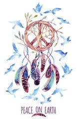 Watercolor ethnic dream catcher and peace sign.