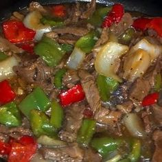 Little tweeking and it can be Paleo Mom's Pepper Steak .serve over rice THIS is how pepper steak is suppose to taste. Steak Recipes, Crockpot Recipes, Cooking Recipes, Healthy Recipes, Delicious Recipes, Spicy Recipes, Beef Dishes, Food Dishes, Main Dishes
