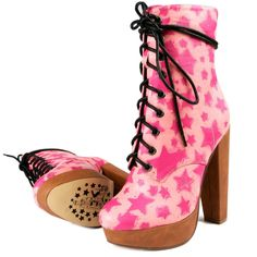 Iron Fist STARSHIP Platform Lace Up Boots Pink Stars with Black Laces #IronFist #PlatformsWedges