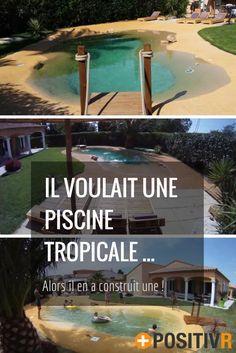 Il voulait une piscine façon lagon tropicale, alors il a décidé de la construire ! Le tout, pour un moment très abordable et une construction respectueuse de l'environnement ! Ça vous tente pas vous aussi ? Explications en vidéo ! #piscine #été #DIY