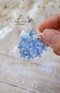 Real forget me nots flowers oval resin necklace nature