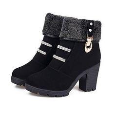 zapatos de mujer botines tacón grueso del dedo del pie en punta – USD $ 18.99