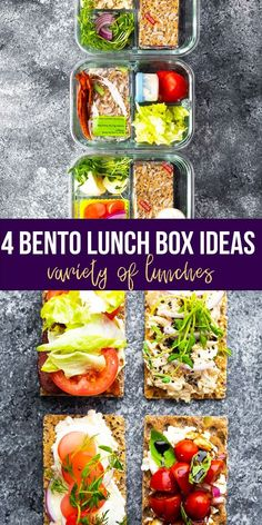 4 easy bento box ideas that have a variety of proteins, vegetables and flavours! These will get you so excited for lunch again! Build your 'open-faced' sandwiches on crispbreads and enjoy and healthy lunch.