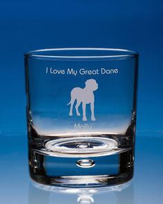 Great Dane Dog Gift Personalised Engraved Whisky Glass - Add your Name and Message - Birthday Gift, Christmas Gift, Dog Lover Gift