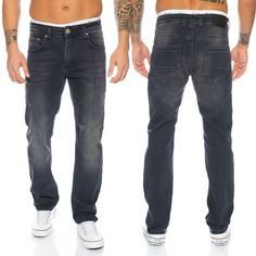 Rock Creek Designer Herren Jeans Stretch Jeanshose Denim Schwarz Hose LL-399 NEU