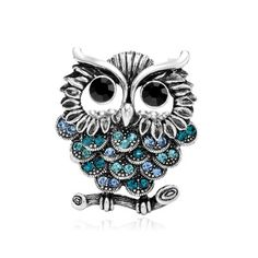 Antique Silver Owl Ring Stretchy Rhinestone Owl Statement Rings Blue Purple