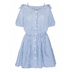 Choies Blue Stripe Off Shoulder Strappy Button Up High Waist Dress ($30) ❤ liked on Polyvore featuring dresses, blue, striped dress, blue striped dress, strappy dress, blue stripe dress and blue day dress