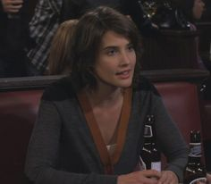 Robin's grey and yellow cardigan on How I met your mother.  Outfit Details: http://wornontv.net/510/ #HowIMetYourMother