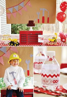 Red and White Boys Construction Themed Birthday Party - Spaceships and Laser Beams