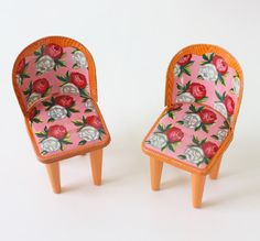 Vintage Doll Furniture - Floral Metal Chairs and Table  This little table and chair set are just so incredibly cute and sweet.  They are made of metal..