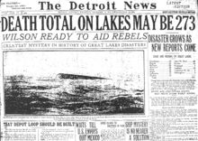 """The Great Lakes Storm of 1913, historically referred to as the """"Big Blow"""", the """"Freshwater Fury"""", or the """"White Hurricane"""", was a blizzard with hurricane-force winds that devastated the Great Lakes Basin in the Midwestern United States and the Canadian province of Ontario from November 7 through November 10, 1913. The storm was most powerful on November 9, battering and overturning ships on four of the five Great Lakes, particularly Lake Huron."""