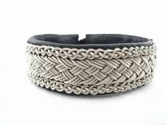 Sami Lapland Swedish Bracelet Reindeer Leather Pewter Nordic Art & Design. $159.00