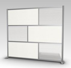 "84"" wide x 75"" high Room Divider, Office Partition, White & Translucent Frosted Hammered"