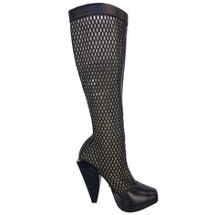 Versace Fall 2012 Mesh Boots | From a collection of rare vintage shoes at https://www.1stdibs.com/fashion/accessories/shoes/
