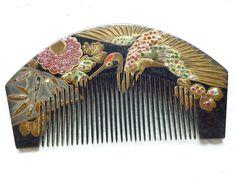 Vintage Japanese Hair Comb Black Crane Kushi Makie Maiko Geisha   eBay