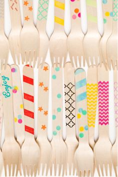 Colorful party knives, forks, spoons $12/set of 20 | available at Hattan Home