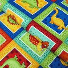Dinosaur Patchwork Fabric By Timeless Treasures Usa