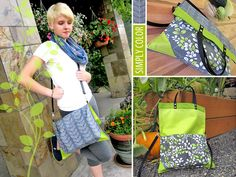 DIY TUT for a great CONVERTIBLE fold over shoulder strap purse or handled tote bag.  Great weekend-vacation purse-bag. Simply Color by Vanessa Christenson for Moda: Fold-over Tote | Sew4Home