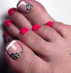 French Toe Nail ARt Rhinestone