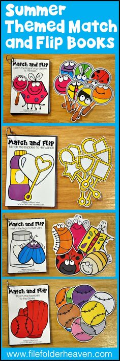 These Matching Activities: June Match and Flip Books focus on basic matching skills. In these activities, students work matching by shape, matching by color, and matching part to whole.  There are four Match and Flip Books included in this download.  Match the Wands to the Bubbles (Matching By Shape) Match the Magnifying Glass to the Bugs (Matching Part to Whole) Match the Bugs to the Jar (Matching By Shape) Match Baseballs to the Gloves (Matching By Color)