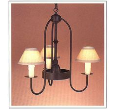 "5032  THREE LIGHT IRON CHANDELIER WITH DOWN LIGHT HT 24"" W 26"""