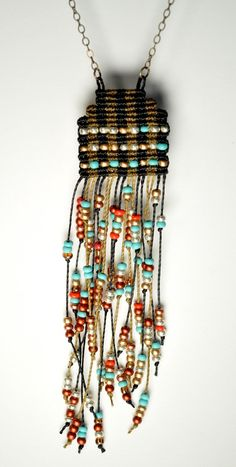 Fringed and Beaded Circuit Necklace ~ AMiRA jewelry