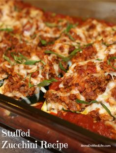 make the most of your fresh garden zucchini with this delicious stuffed zucchini recipe which can be served as either a side dish or a main dish. Omit rice or use brown for crossover Fall Recipes, Healthy Dinner Recipes, Beef Recipes, Cooking Recipes, Atkins Recipes, Stuffing Recipes, Cooking Tips, Vegetable Dishes, Vegetable Recipes