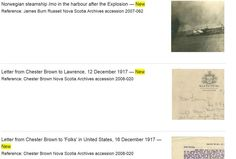 A view of a portion of the Nova Scotia Archives website about the 1917 Halifax Explosion, Personal Narratives and other materials. Screen captured December 2, 2015.