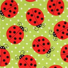 green ladybird and dots fabric by Robert Kaufman 1