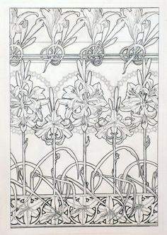 Alphonse Mucha - Documents décoratifs: line drawing for Plate 33, featuring lily motifs (1901-1902)