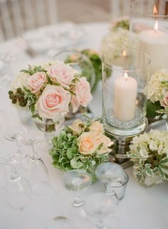 #centerpiece, #candle  Photography: Greg Finck - www.gregfinck.com  Read More: http://www.stylemepretty.com/2014/12/09/classic-french-chateau-wedding-in-provence/