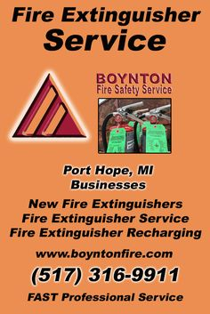 Fire Extinguisher Service Port Hope MI (517) 316-9911Local Michigan Businesses Discover the Complete Fire Protection Source.  We're Boynton Fire Safety Service.. Call us today!