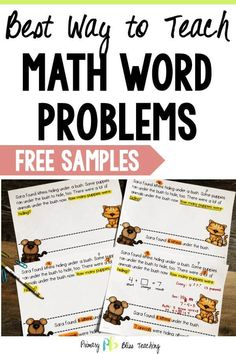 Numberless word problems can help students become ROCKSTAR problem solvers! First Grade Lessons, Teaching First Grade, 1st Grade Math, Math Lessons, Teaching Math, Math Fact Fluency, Math Talk, Math Words, Math Word Problems