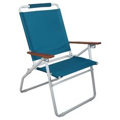 3 Position High Back Beach Chair Blue - Room Essentials™ Backyard Chairs, Beach Chairs, Outdoor Chairs, Outdoor Furniture, Outdoor Decor, Folding Beach Chair, Grey Room, Roof Deck, Blue Rooms