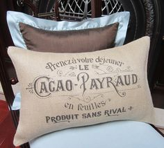 Burlap Pillow Cover  French Vintage Typography by SpoolsAndBobbins, $29.00
