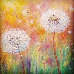 Dandelion Acrylic Painting Tutorial by Angela Anderson on YouTube #dandelion #wildflowers #acrylicpainting