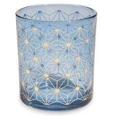 Photophore en verre bleu H 8 cm STARS MILORD