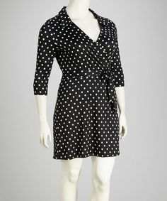 Take a look at this Black Polka Dot Collared Plus-Size Surplice Dress by Star Vixen on #zulily today!