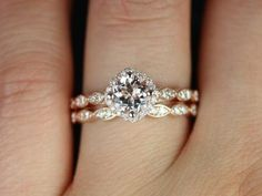 Katya 14kt Rose Gold Morganite and Diamonds Kite Cushion Halo WITHOUT Milgrain Wedding Set(Other metals and stone options available)