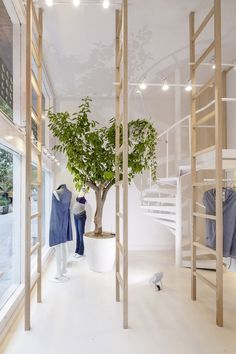 A modular shelving system made up of wooden ladders furnish the interior of this maternity clothing store in Barcelona